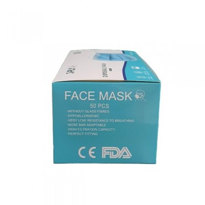 [FDA & CE] Quality 3 Ply Disposable Face Mask (50 PCS in a Box)