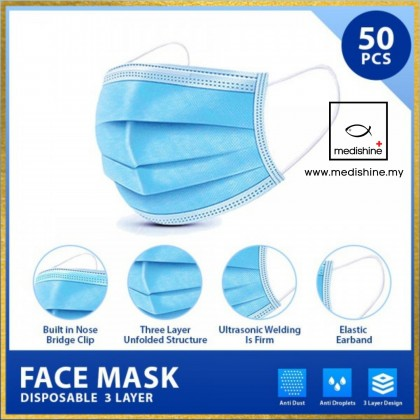 【LOCAL】50 pcs 3ply Face Mask Adults Kids Protective Disposable Medical Non Medical Earloop Nose Mouth Protection (FREE GIFT)